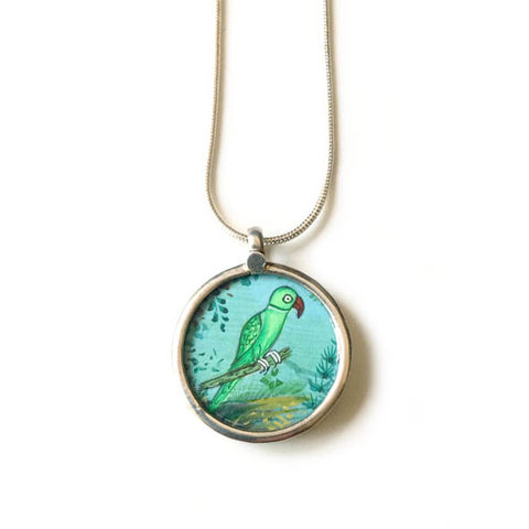 Beautiful,hand,painted,small,bird,pendant,necklace.,Hand painted bird pendant, ethically sourced, hand made Jewellery, Sterling Silver.
