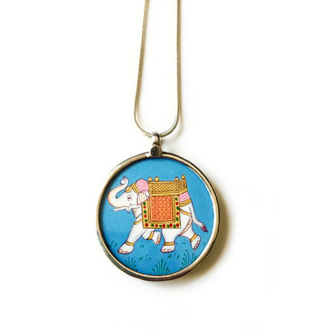 Beautiful,hand,painted,sacred,elephant,pendant,necklace.,Indian sacred elephant , hand painted, ethically sourced, hand made Jewellery, Sterling Silver.