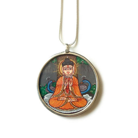 Beautiful,hand,painted,Budha,pendant,necklace.,Indian, hand painted, ethically sourced, hand made Jewellery, Sterling Silver.