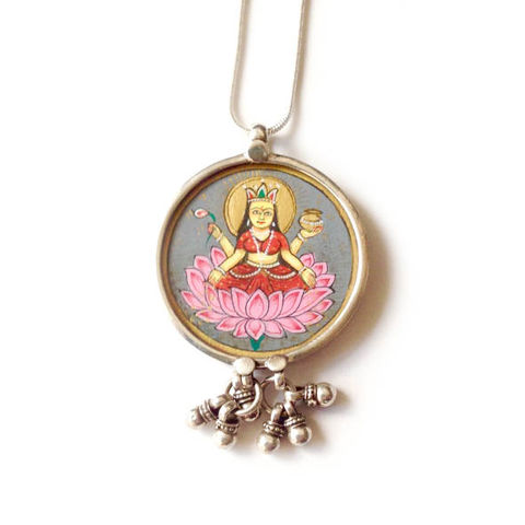 Beautiful,hand,painted,Lakshmi,pendant,necklace.,Indian Lakshmi , hand painted, ethically sourced, hand made Jewellery, Sterling Silver.