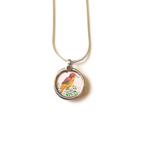 Beautiful,hand,painted,tinyl,bird,pendant,necklace.,Hand painted bird pendant, ethically sourced, hand made Jewellery, Sterling Silver.