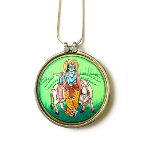 Beautiful,hand,painted,Murlidhar,Krishna,With,Cow,pendant,necklace.,Murlidhar Krishna With Cow , hand painted, ethically sourced, hand made Jewellery, Sterling Silver.