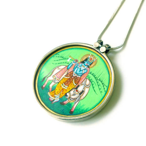 Beautiful hand painted Murlidhar Krishna With Cow pendant necklace. - product images  of