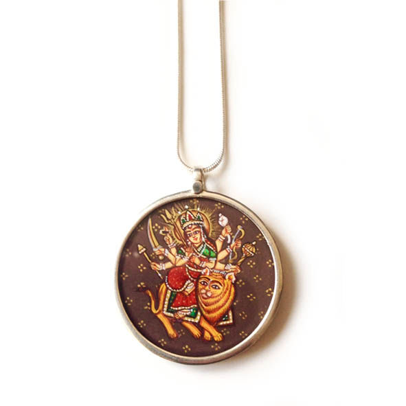 Beautiful hand painted Durga pendant necklace. - product images  of