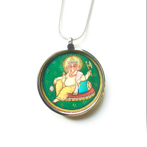 Beautiful hand painted Ganesh pendant necklace. - product images  of