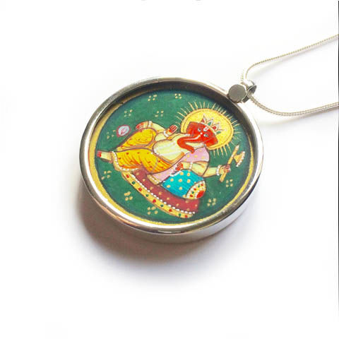 Beautiful,hand,painted,Ganesh,pendant,necklace.,Indian Ganesh, hand painted, ethically sourced, hand made Jewellery, Sterling Silver.