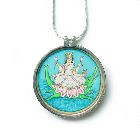 Beautiful,hand,painted,Goddess,Maa,Ganga,pendant,necklace.,Goddess Maa Ganga , hand painted, ethically sourced, hand made Jewellery, Sterling Silver.