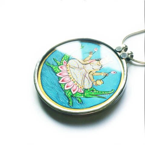 Beautiful hand painted Goddess Maa Ganga pendant necklace. - product images  of