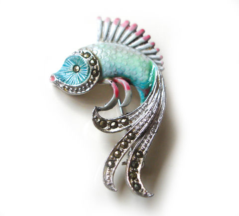 Stunning,1950's,Vintage,Enamel,and,Marcasite,Fish,Brooch,Stunning 1950's Vintage Enamel and Marcasite Fish Brooch