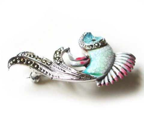 Stunning 1950's Vintage Enamel and Marcasite Fish Brooch - product images  of