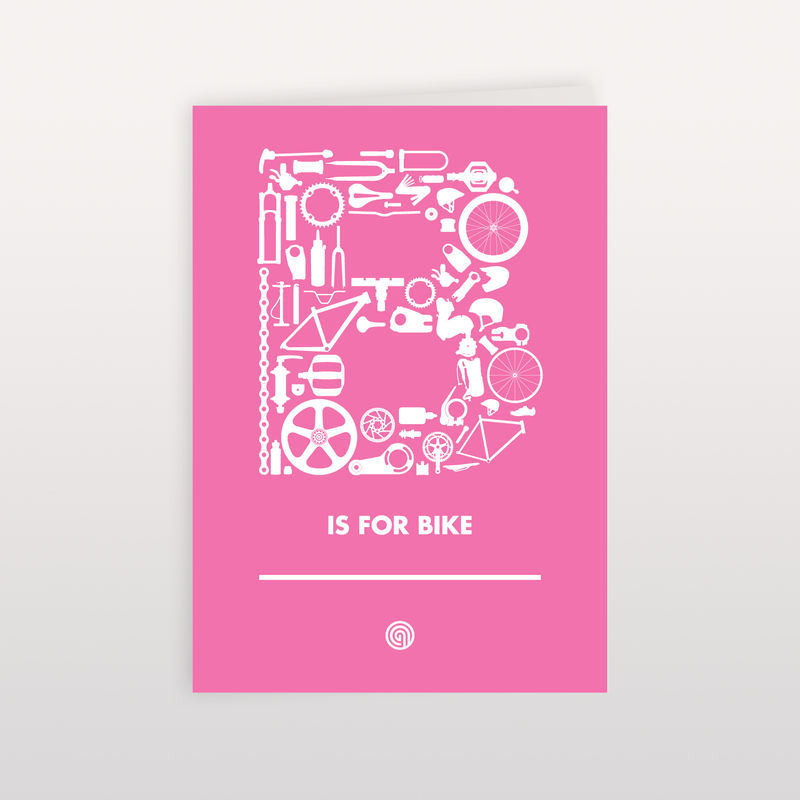 B is for Bike - Pink - 120x170mm - Greeting Card - product images