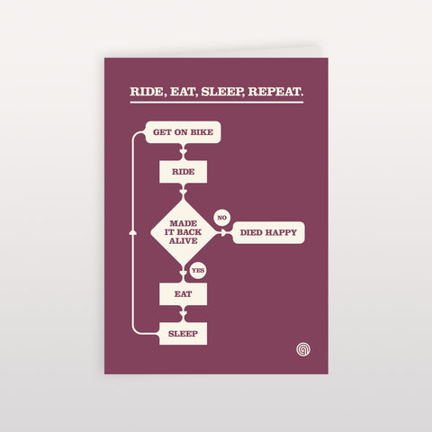 Ride,,Eat,,Sleep,,Repeat.,Chart,Purple.,-,Greeting,Card,120x170mm,Ride Eat Sleep Repeat, Greeting Card, Anthony Oram