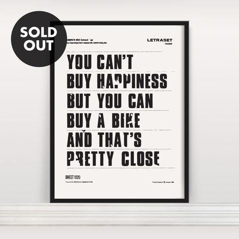 You,Can't,Buy,Happiness,-,Screen,Print,Screen Print, Typographic Poster, You Can't Buy Happiness