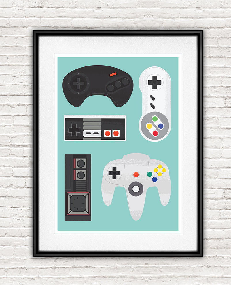 Retro Video Game Poster, SNES print, Nintendo poster - product images  of