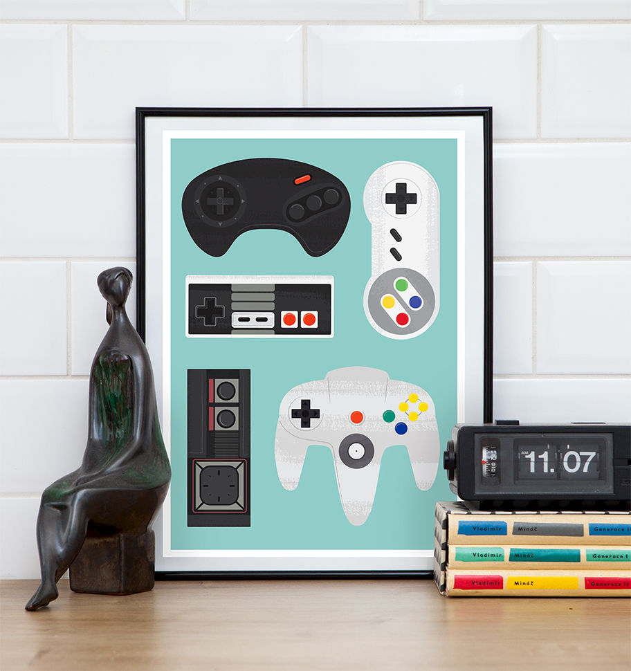 Retro Video Game Poster, SNES print, Nintendo poster - product image