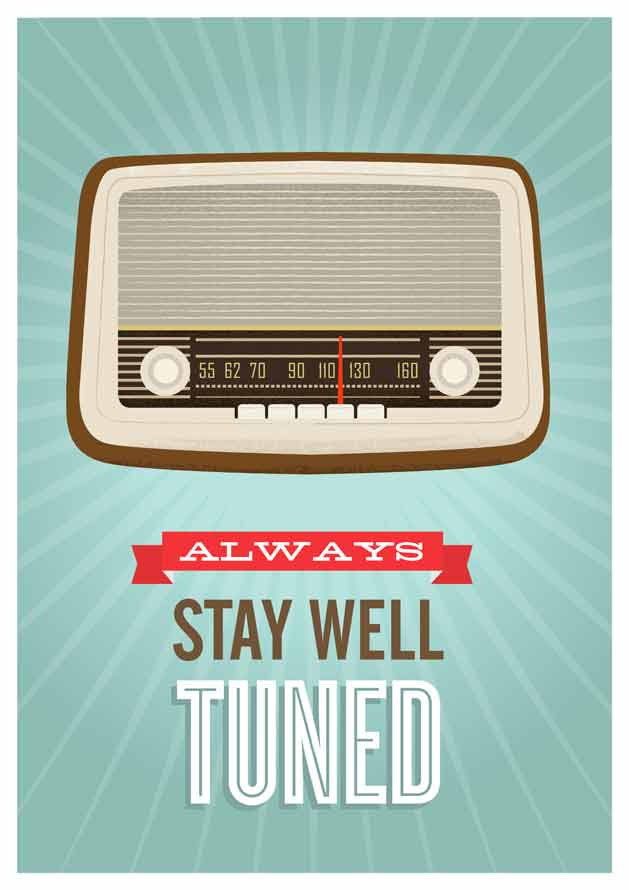 Mid Century Art, Retro vintage radio poster, typography quote art, Stay well tuned A3 size - product images  of