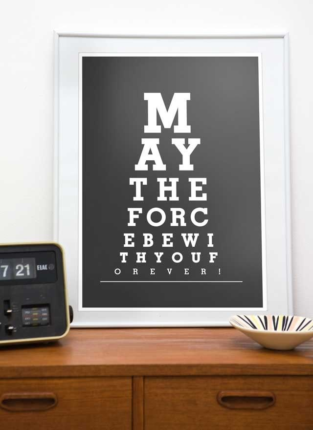 Star Wars  print  typography art poster   Eye Chart  -  May the force be with You  A3 or A4