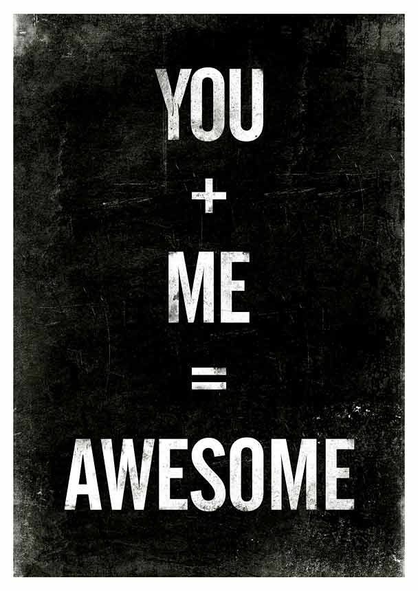Quote print Typography art Black and White art - You plus Me equals Awesome A3 - product images  of