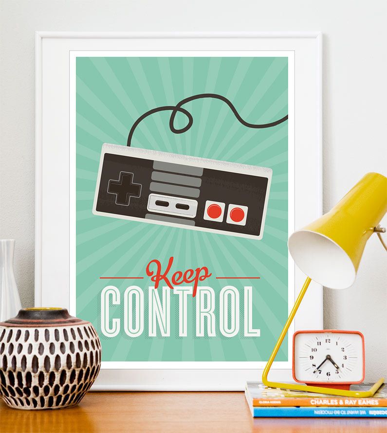 Retro Videogame Art  positive quote  Print  Hipster poster Keep Control  A3 - product image