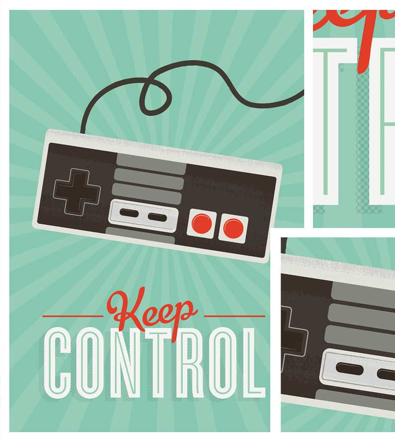 Retro Videogame Art  positive quote  Print  Hipster poster Keep Control  A3 - product images  of