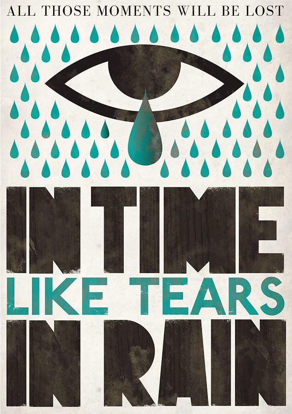 Typography print    Retro poster  Wall decor - Tears in Rain Scandinavian art A3 - product images  of
