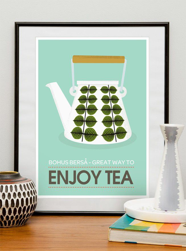Art for Kitchen Art Tea art print kitchen poster mid century modern Stig Lindberg  - Enjoy Tea  retro poster A3 - product images  of