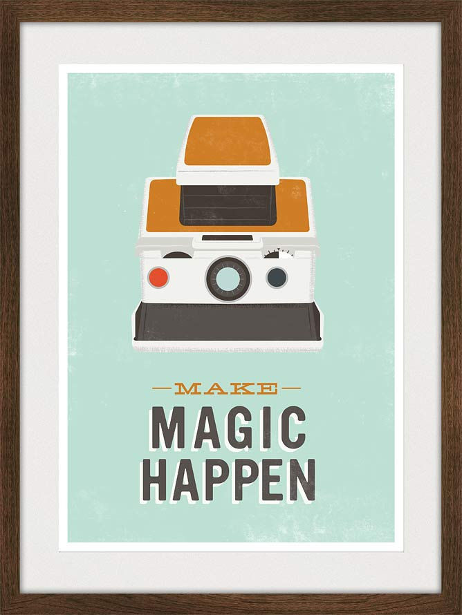 Polaroid Poster Quote Print Retro Camera poster Typography art - Make Magic Happen A3 - product image