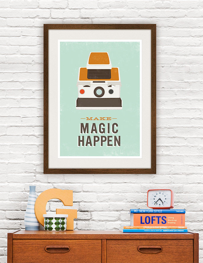 Polaroid Poster Quote Print Retro Camera poster Typography art - Make Magic Happen A3 - product images  of