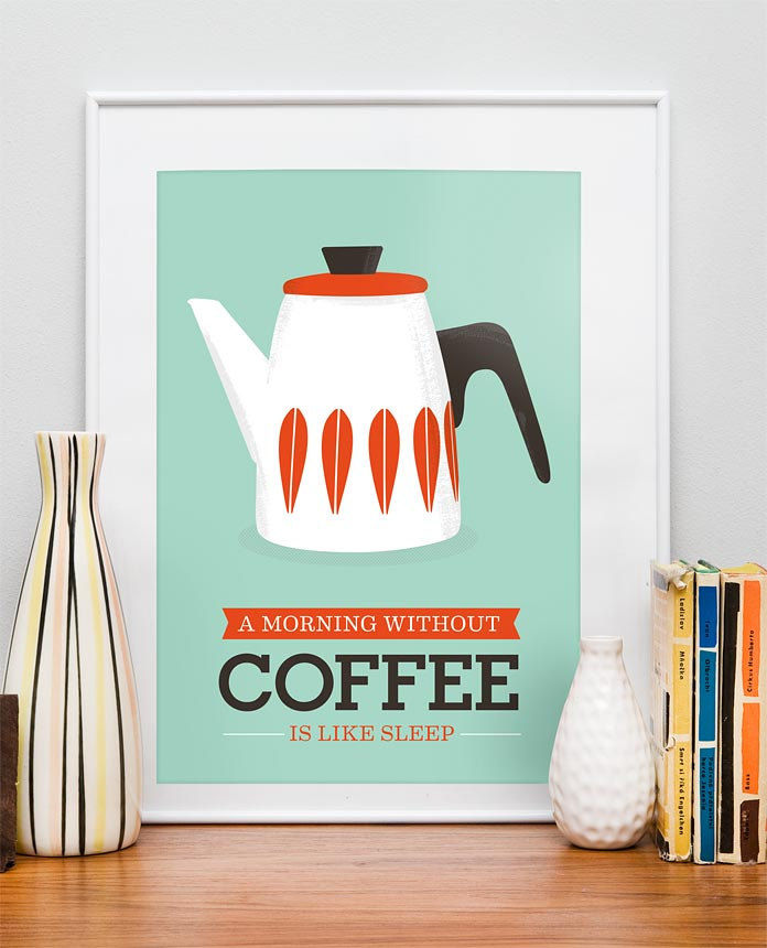Art For Kitchen Cathrineholm Kitchen art Mid century modern poster Coffee art  A3 size Seagreen blue - product image