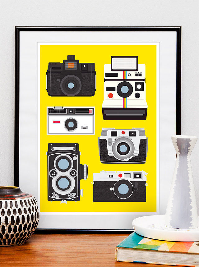 Retro Print  Vintage Camera print  Poloaroid poster  -  Polaroid, Rolleiflex, Holga - Cool Cameras -  A3 size - product images  of
