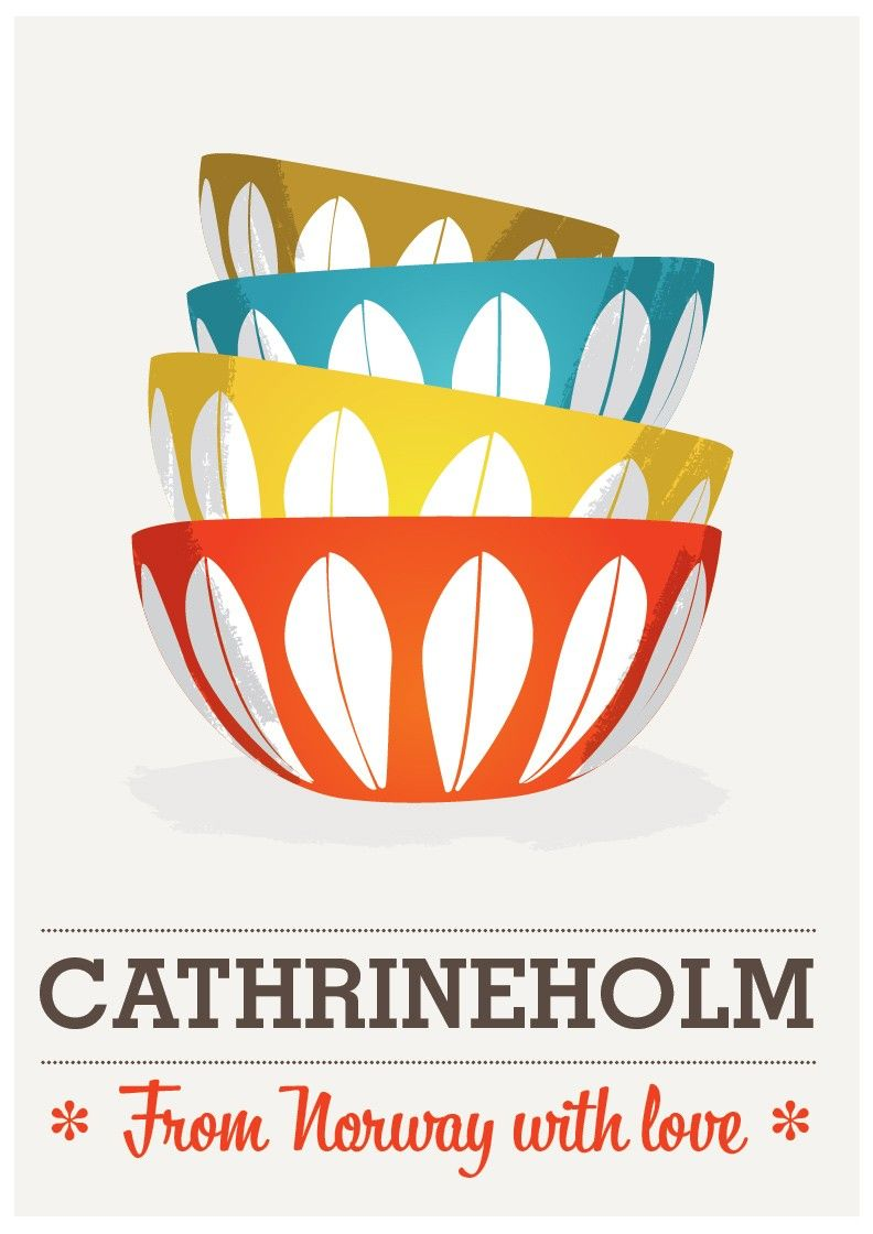 Cathrineholm poster printModern print  midcentury art kitchen poster - From Norway with Love   A2 - product image