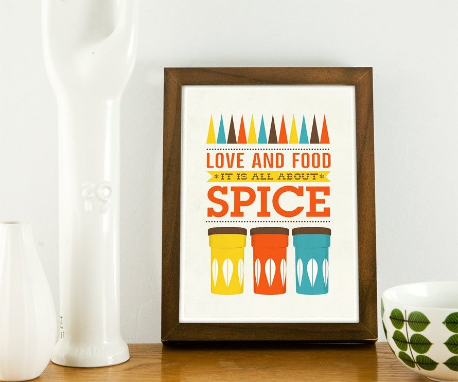 Art for Kitchen Cathrineholm Typography art print - Love & Food A3 poster print - product image