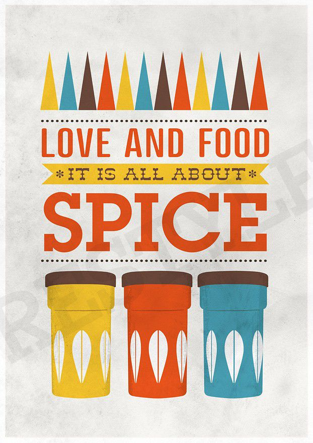 Art for Kitchen Cathrineholm Typography art print - Love & Food A3 poster print - product images  of