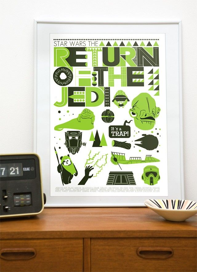 Star Wars  poster print  movie Return Of The Jedi - Retro  Scandinavian style  art A3 - product image