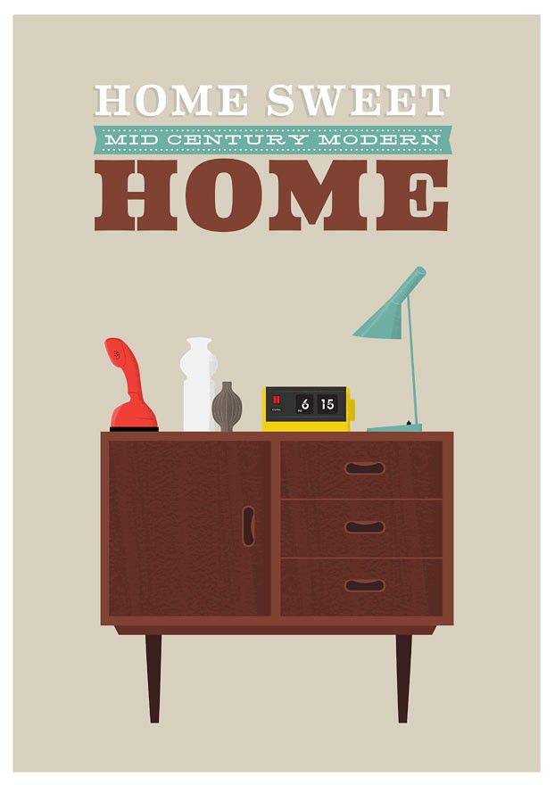 Mid Century Modern Print Danish Modern retro art    Typography  print   -  Home Sweet Home  - A3 retro - product images  of