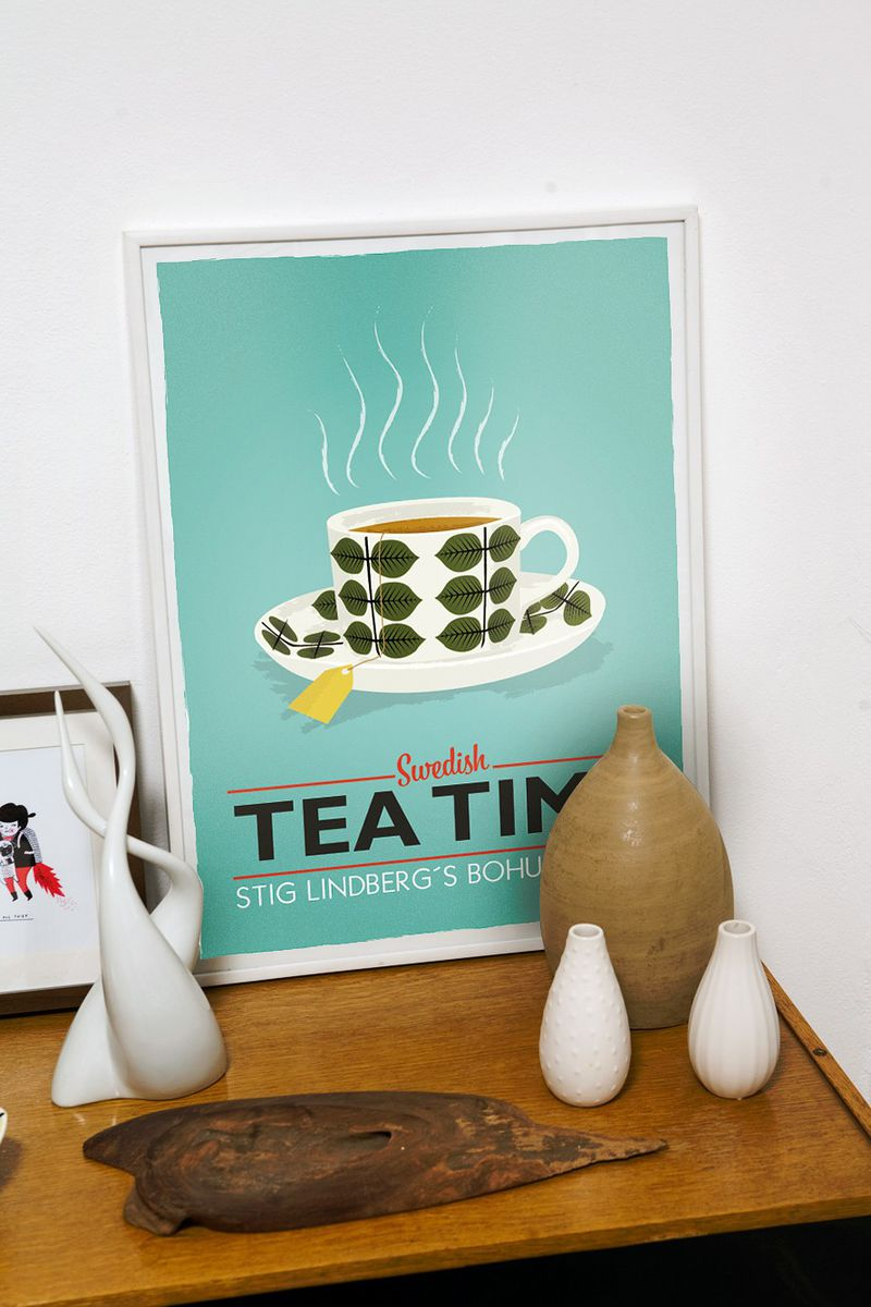 Tea poster  teacup print Kitchen art - Stig Lindberg Bersa - Swedish tea time A3  turquoise  wall decor - product image