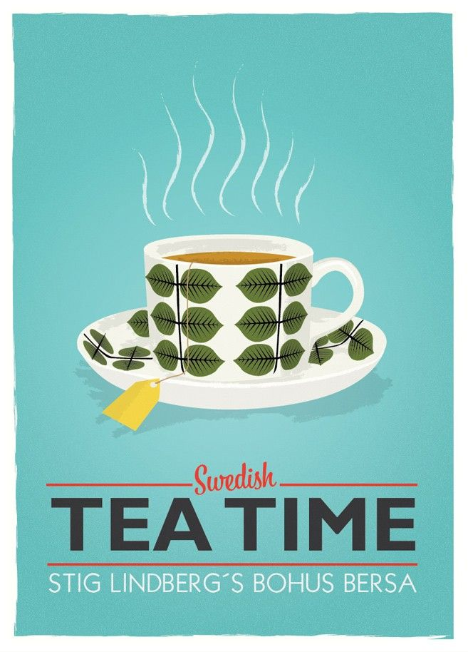 Tea poster  teacup print Kitchen art - Stig Lindberg Bersa - Swedish tea time A3  turquoise  wall decor - product images  of