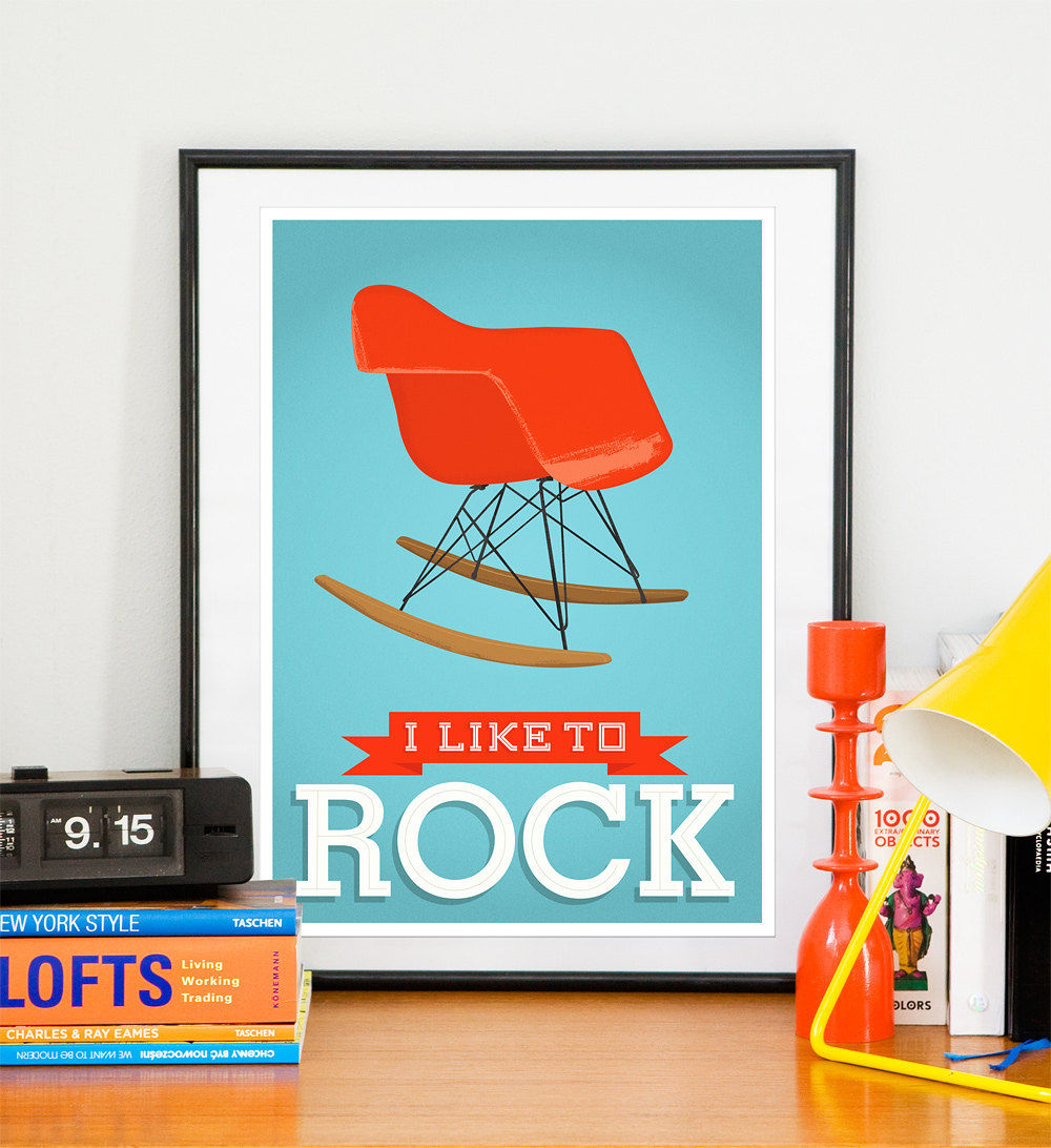 Eames Mid century art   nursery wall art   Retro poster - Eames - I like to rock A3 - product image