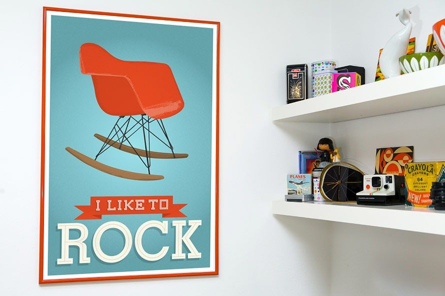 Eames Mid century art   nursery wall art   Retro poster - Eames - I like to rock A3 - product images  of