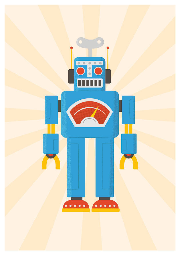 Robot Nursery print Kids Art poster print Retro Robot Baby Nursery print  RETROBOT A3 - product images  of