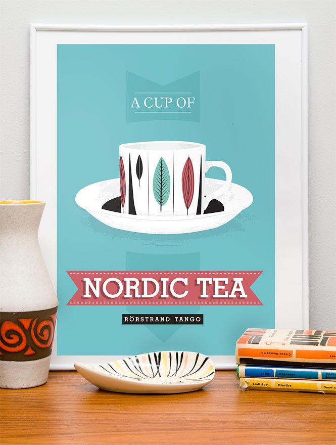 Kitchen print  Tea poster - Nordic Tea - retro rorstrand scandinavian art blue A3 - product image