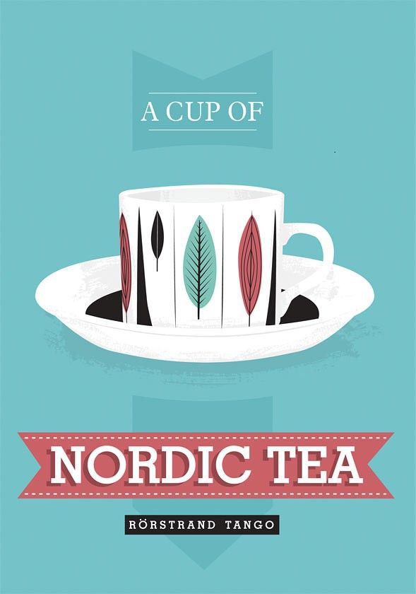 Kitchen print  Tea poster - Nordic Tea - retro rorstrand scandinavian art blue A3 - product images  of