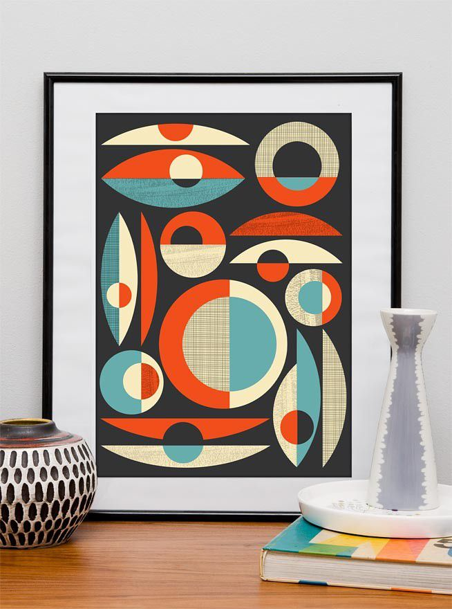 Retro print  Mid Century wall  art  Modernist retro inspired composition  A2 size - product image