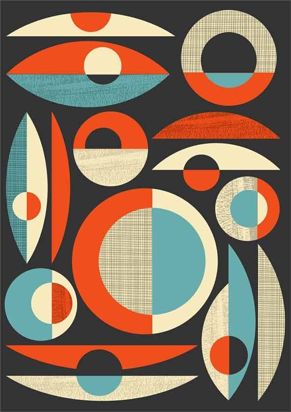 Retro print  Mid Century wall  art  Modernist retro inspired composition  A2 size - product images  of