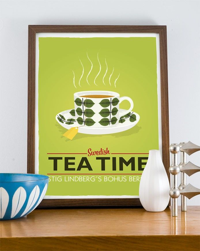 Kitchen Art print Tea print  cup print Scandinavian poster - Stig LIndberg - Swedish tea time A3 - product image