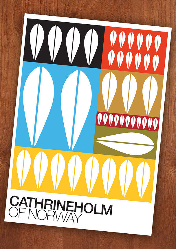 Cathrineholm poster print Mid century   Typography Retro print  Of Norway  wall decor A3 - product images  of