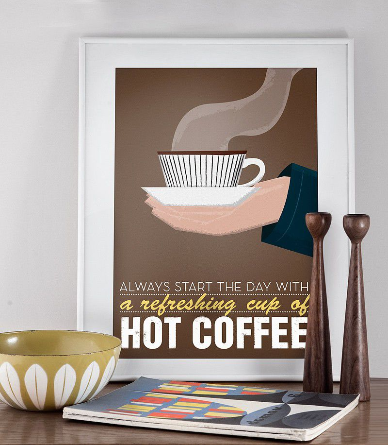 Coffee print  typography poster mid century art - Stig Lindberg- hot coffee  Scandinavian design retro a3 - product image