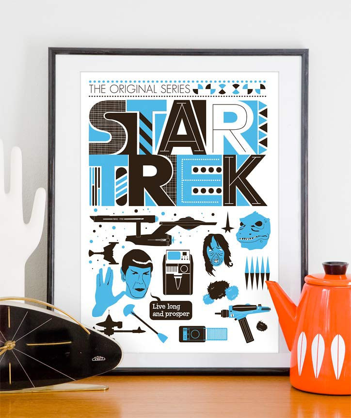 Star Trek Poster Movie poster Retro Scandinavian style - The Original Series A3 - product images  of