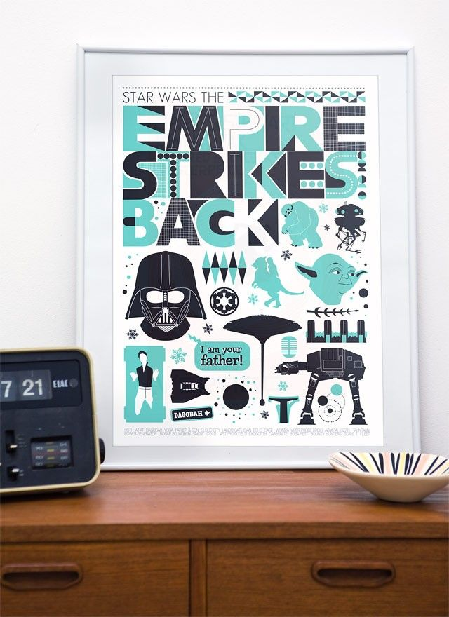 Star Wars  art print   baby boy nursery movie Poster  retro  The Empire Strikes Back -  scandinavian  style - A2 size - product image
