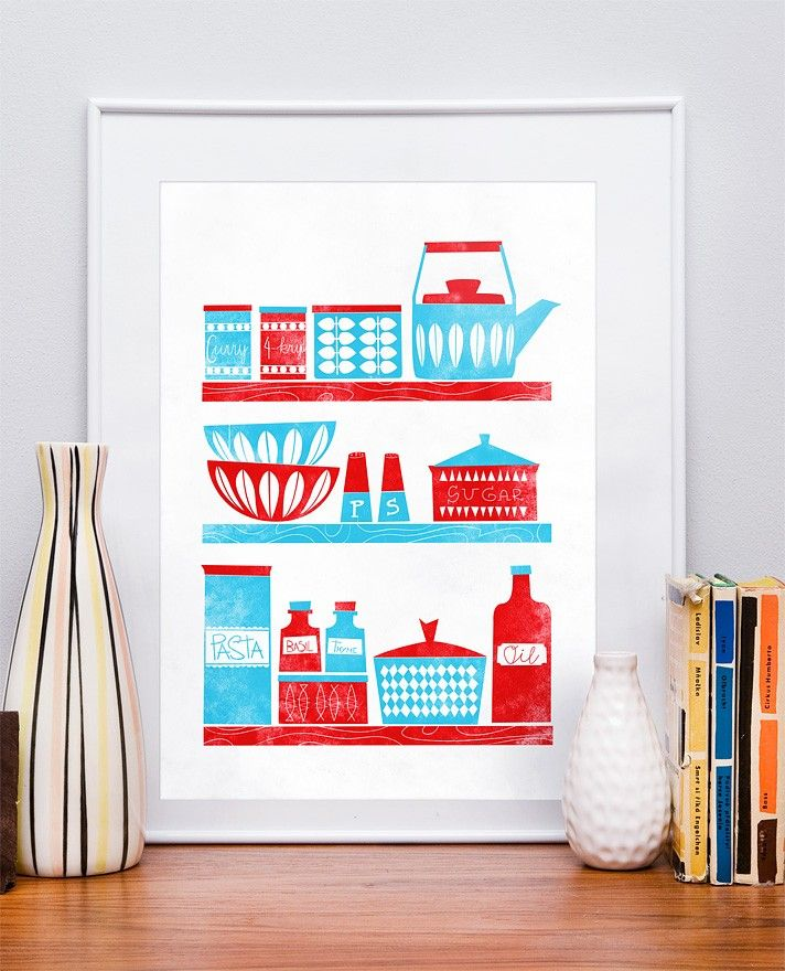 "Kitchen print  Cathrineholm poster Scandinavian Mid Century Modern art  ""Kitchen  shelves""   A3 letterpress style retro - product images  of"